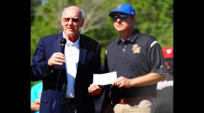 BMYB President Pete Sellers accepting a check from State Representative Harry Shiver